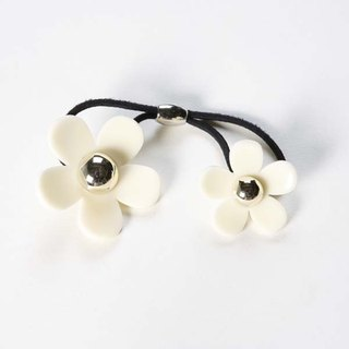 Gold Pearl Acrylic Double Flower, Hair Tie, Hair Ring - White