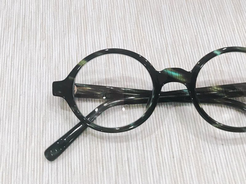 afaded52bff0 Green Stripe Oval round Shape eyeglasses frame eyewear Handmade in Japan -  Designer elements-eyewear