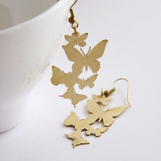Golden Butterflies Fluttering Graphic Illustration Earrings