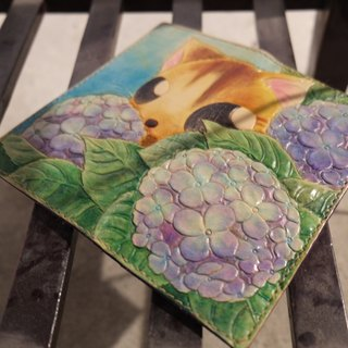 Lovey leather Accessories / Cat and hydrangea summer afternoon - hand-made leather cow leather wallet long clip fairy forest wind grocery