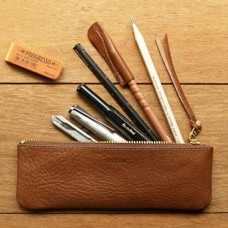 Leather Pen Case ( Custom Name ) - Caramel Coffee