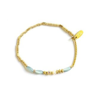 Ficelle | Handmade brass natural stone bracelet | [Hand-stained shell] Pavlova perfect dance shoes - blue