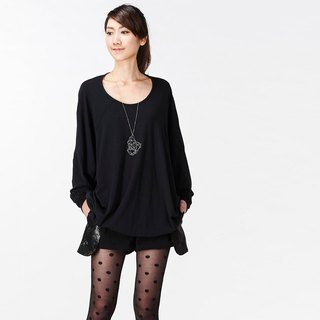 【Top】 Great Circle Design Long Sleeve Tunic _ Black