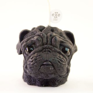 Pug Dog Candle - black