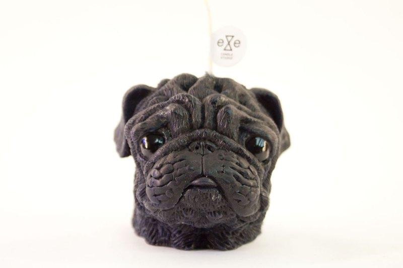黑色巴哥犬 狗造型香氛蠟燭 Pug Dog Candle