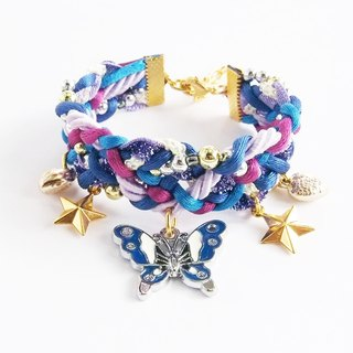 Blue butterfly braided bracelet