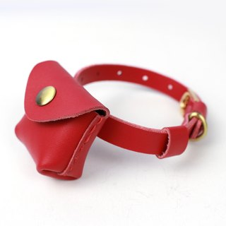 Zemoneni Leather pet collar in red color and light blue color