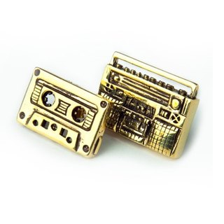 radio cassette tapes  earring  in brass hand sawing