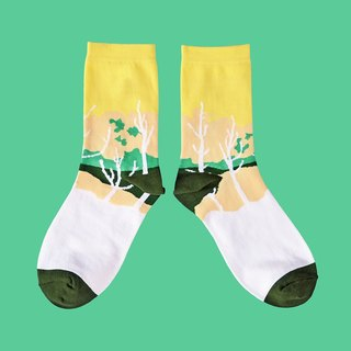 Sunset Yellow Unisex Crew Socks | mens socks | womens socks | colorful fun socks