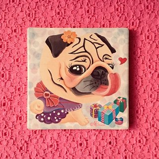 Pug ceramic absorbent coaster-The Best Gift!(Girl)