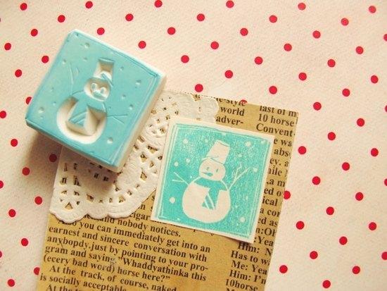 Apu手工章 可爱雪人方形印章 冬季 圣诞适用 手帐印章