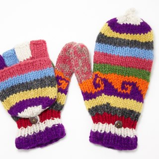 Happy Valentine's Day Limited a knitted pure wool warm gloves / 2ways Gloves / Toe Gloves / Glove inner bristle - bright playful waves totem