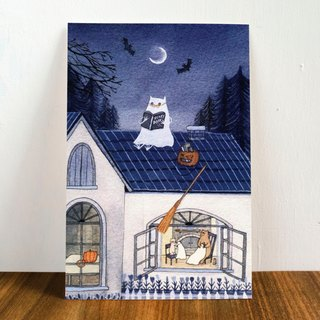 "Bear & Pig- ""Halloweer"" Postcard"