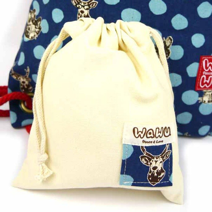 WaWu mini drawstring pouch (Rabbit and deer/blue)