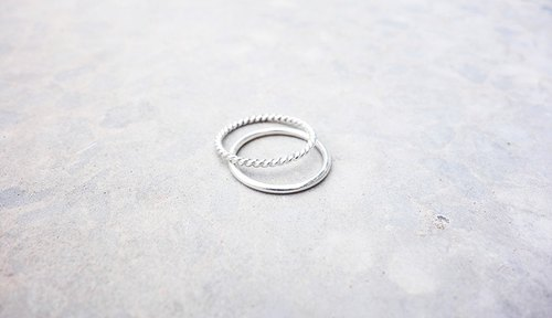 Combination Series - Twist and Round Rings with Sterling Silver Rings