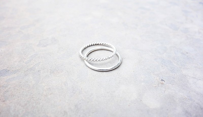Combination Series - Twist and Round Ring Sterling Silver Ring
