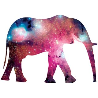 Elephant-Galaxy-sleeved T-shirt - white elephant galactic cosmic space abstract animal art design illustration Wen Qing