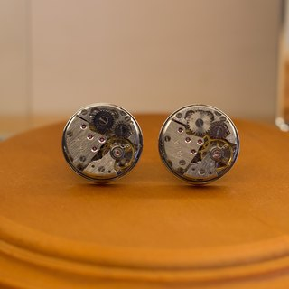Mechanical watch core round silver cufflinks