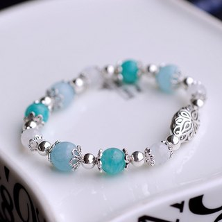 Tianhe Stone*Hailanbao*Moonstone Sterling Silver Bead Bracelet
