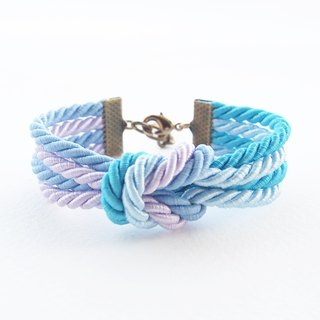 Blue shade and lilac double knot bracelet [Brass clasp].
