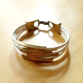 Valentine's Day gift square brass leather leather bracelet music in hand made European jewelry