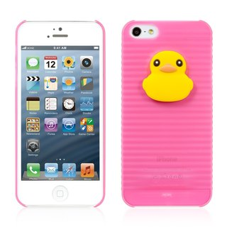 iPhone 5 / 5S Jelly Juice Case - peach pink / yellow Duck