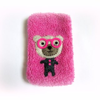Spectacled bear pink cell phone pocket
