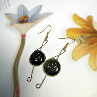 ◎ obsidian earrings earrings * brass notes