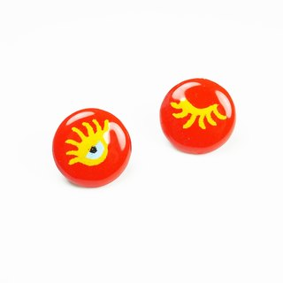 Miss eyes enamel earrings (orange)