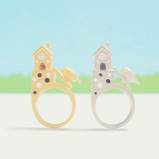 Polka dot house and a little bird climbing a ladder ring, House ring, Little bird ring