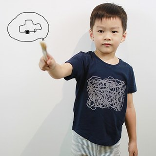 Children's Cotton Handmade Fashion T-Shirt - Childlike Line Composition (Iron Grey Blue)