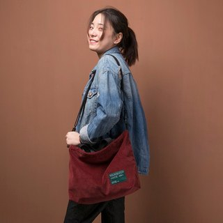 ntmy. Heavy washed corduroy shoulder bag backpack oblique