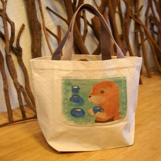 Little things} Limited sold a small canvas bag happy: I like to drink tea natural system _ _ _ Taiwan design and manufacture of wind illustration