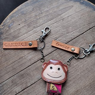Cute monkey eat incense 12 Lunar New Year pure leather key ring ─ can be lettering