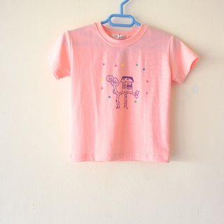 Draw a little happiness ☆ color stars small tree house / security fortress children pink powder round neck elastic t-shirt