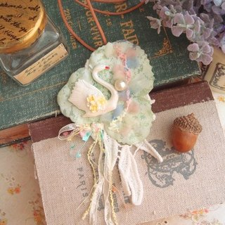 Garohands elegant swan cotton lace ribbon pearl brooch dual necklace gift N015 * mint green forest department