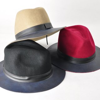 Flat 135 X Taiwan designer autumn and winter British style gentleman hat hat fall and winter thickness hat 3 colors can choose stitching Leather essential section wool material Valentine's Day wear party New Year
