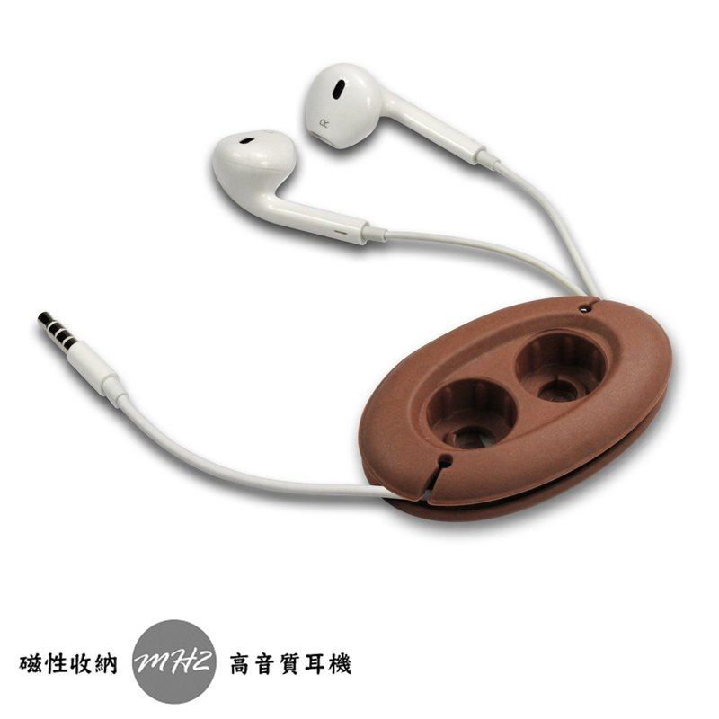 [CARD] MH2-BC earbud type 3.5mm headphone storage set (chocolate) / creative strong magnetic buckle