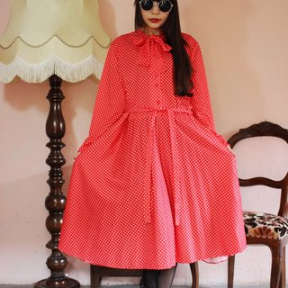 F1138 (Vintage) red bottom white little bow waist straps attached collar long-sleeved vintage dress