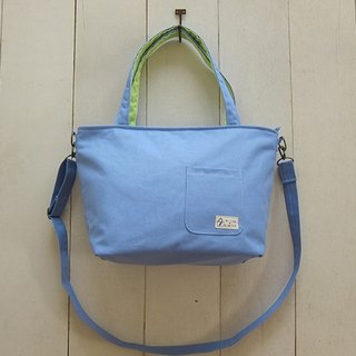Dachshund Dog Zip Opening Canvas Tote Bag - Medium (Light Blue + Fruit Green) + Removable Adjustable Strap + Small Outside Pocket
