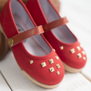 Zola brick red rivet doll shoes (zero code special offer only accept returns)