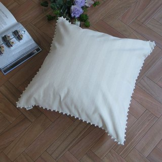 [Cover only] canvas stripes cushion cover pompon SQ