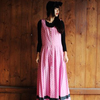 F840 (Vintage) pink bottom with small floral lace inlaid with green-breasted cotton vest dress (traditional Austrian Dirndl)