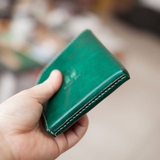 Leather wallet handmade leather lounger 5th floor! (Straight) Green