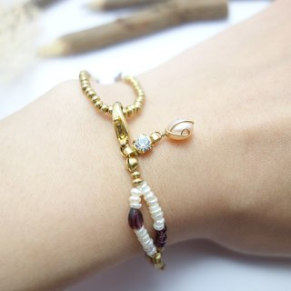 ◎ design pearl bracelet brass section of double-stranded