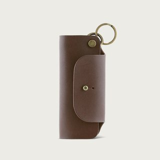 Leather key bag / key ring - dark brown