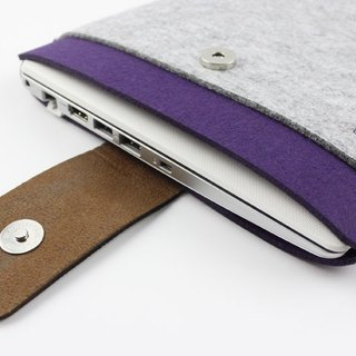 "Light gray felt Apple computer case Felt cover 13 inch laptop bag MacBook 13.3 ""Pro Retina (can be tailored) - ZMY011LG13R"