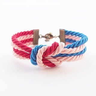 Red, blue, peach double knot bracelet [Brass clasp].
