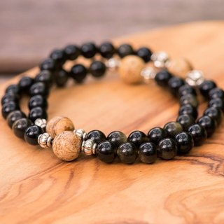 【Woody'sHandmade】茁壯。金曜石木化石手串。Grown – Obsidian with Petrified wood bead