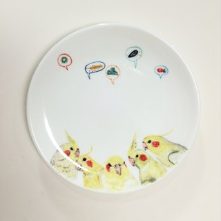 Cockatiels dinner - 6-inch cake pan painted parrots